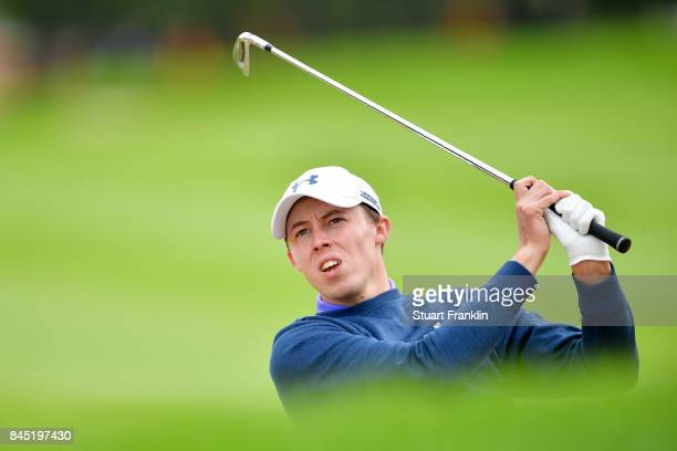 Matthew Fitzpatrick of England plays a shot on the 4th hole during Day Five of the Omega European Masters at CranssurSierre Golf Club on September 10...