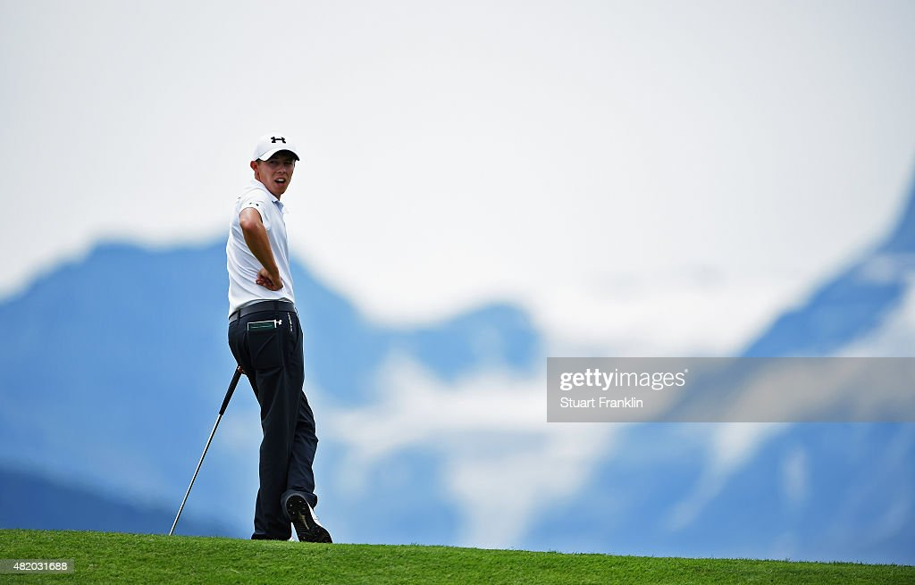 Matthew Fitzpatrick of England ponders a putt during the final round of the Omega European Masters at CranssurSierre Golf Club on July 26 2015 in...