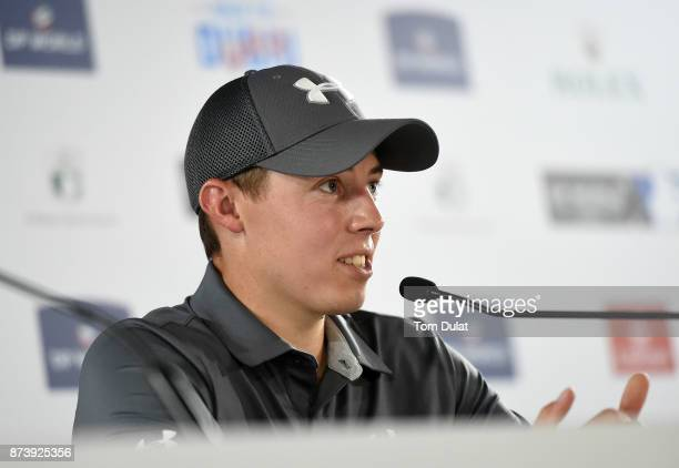 Matthew Fitzpatrick of England speaks to the media during a press conference prior to the DP World Tour Championship at Jumeirah Golf Estates on...