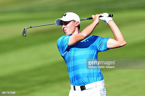 Matthew Fitzpatrick of England takes his third shot on the 10th hole during day one of the DD REAL Czech Masters at Albatross Golf Resort on August...