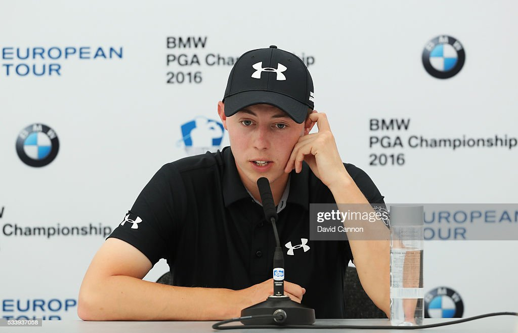 Matthew Fitzpatrick of England talks during a press conference prior to the BMW PGA Championship at Wentworth on May 24, 2016 in Virginia Water, England.