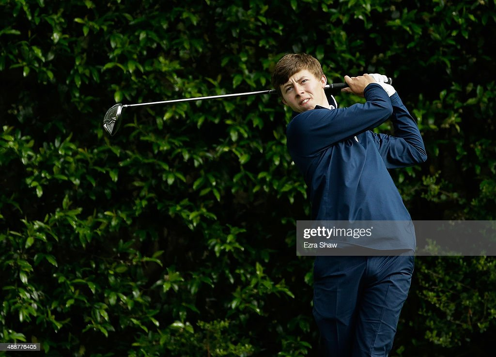 Matthew Fitzpatrick of England tees off on the 5th hole during a practice round at Augusta National Golf Club on April 8, 2014 in Augusta, Georgia.