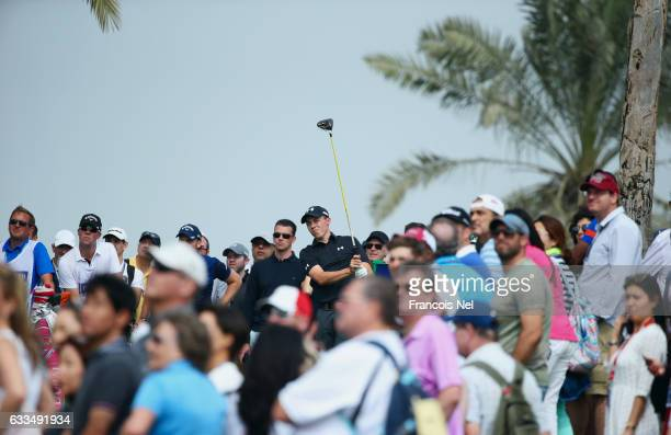 Matthew Fitzpatrick of England tees off on the 9th hole during the first round of the Omega Dubai Desert Classic at Emirates Golf Club on February 2...