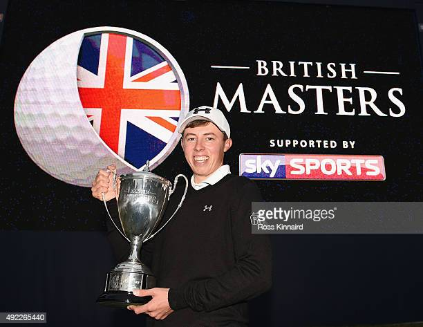 Matthew Fitzpatrick of England with the winners trophy after the final round of the British Masters at Woburn Golf Club on October 11 2015 in Woburn...