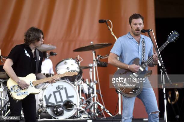 Matthew Followill and Caleb Followill of Kings of Leon perform during the 2017 New Orleans Jazz Heritage Festival at Fair Grounds Race Course on May...