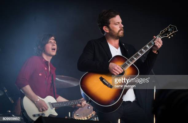 Matthew Followill and Caleb Followill of Kings Of Leon performs on stage at the Barclaycard Presents British Summer Time Festival in Hyde Park on...