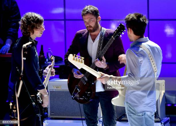 Matthew Followill Caleb Followill and Jared Followill of Kings Of Leon perform on stage on ATT at iHeartRadio Theater LA on January 30 2017 in...