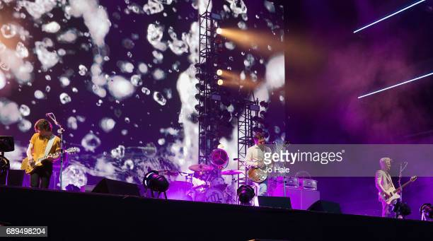Matthew Followill Caleb Followill and Jared Followill of Kings of Leon headline and perform on stage on Day 2 of BBC Radio 1's Big Weekend 2017 at...