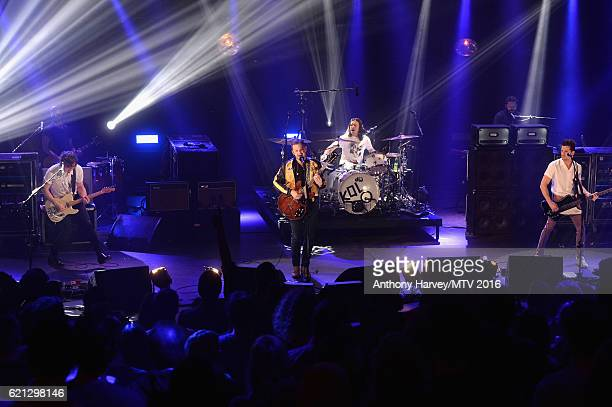 Matthew Followill Caleb Followill Nathan Followill and Jared Followill of Kings of Leon perform at the Rotterdam Music Week World Stage ahead of the...