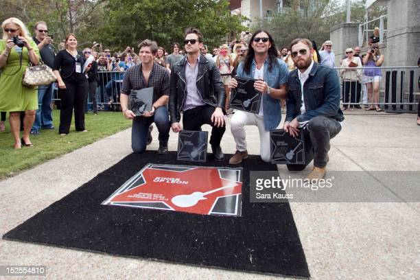 Matthew Followill Jared Followill Nathan Followill and Caleb Followill Music City Walk Of Fame Induction Ceremony Honoring Kings Of Leon at Walk of...