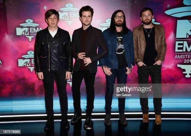 Matthew Followill Jared Followill Nathan Followill and Caleb Followill of Kings of Leon attend the MTV EMA's 2013 at the Ziggo Dome on November 10...