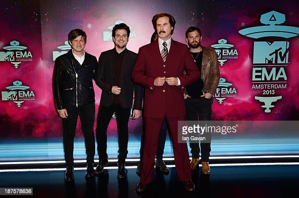 Matthew Followill Jared Followill Will Ferrell as Anchorman's Ron Burgundy and Caleb Followill of Kings of Leon attend the MTV EMA's 2013 at the...