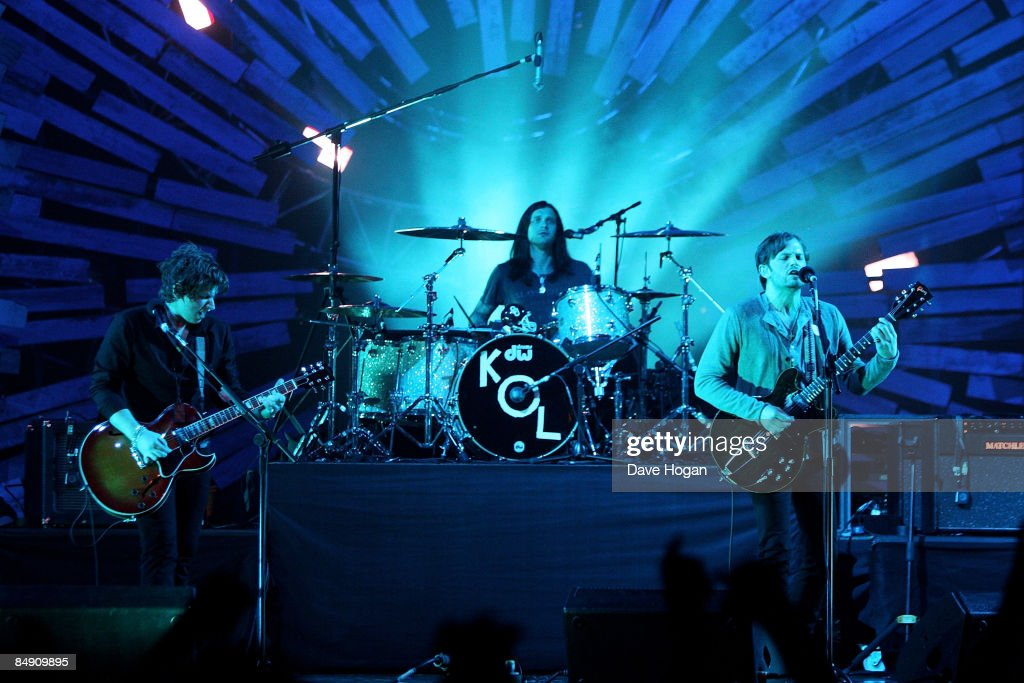 Matthew Followill Nathan Followill and Caleb Followill of The Kings Of Leon perform at the Brit Awards 2009 held at Earls Court on February 18 2009...