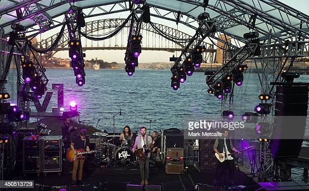 Matthew Followill Nathan Followill Caleb Followill and Jared Followill of Kings of Leon perform live for fans at Sydney Harbour on November 19 2013...