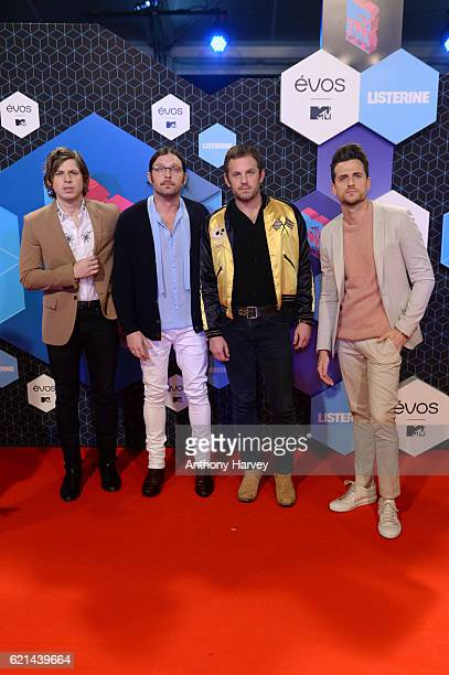 Matthew Followill Nathan Followill Caleb Followill and Jared Followill of Kings of Leon attend the MTV Europe Music Awards 2016 on November 6 2016 in...