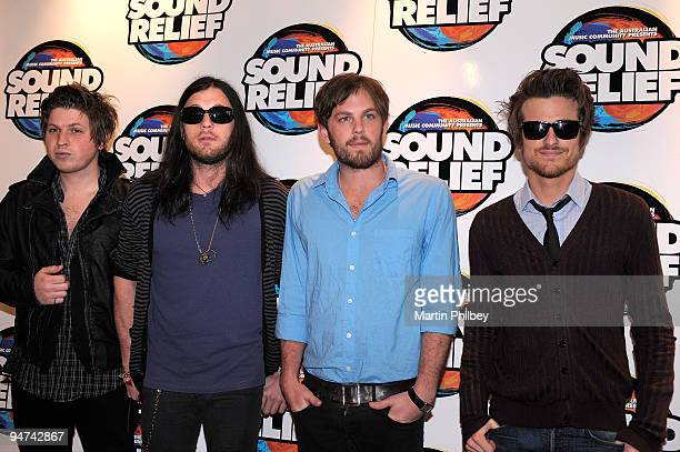 Matthew Followill Nathan Followill Caleb Followill and Jared Followill of Kings Of Leon pose for a group portrait at the Sound Relief Bushfire...