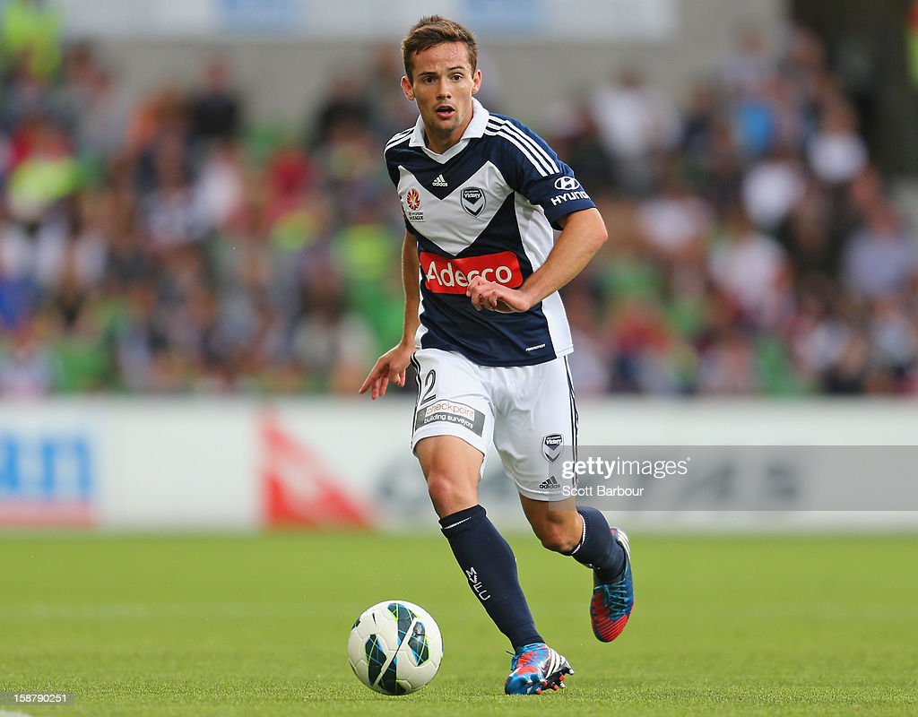Matthew Foschini of the Victory controls the ball during the round 13 A-League match between the Melbourne Victory and the Newcastle Jets at AAMI Park on December 28, 2012 in Melbourne, Australia.
