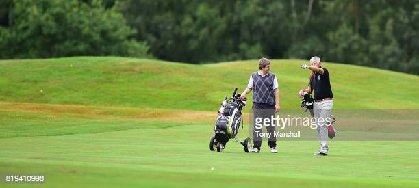 Matthew Foster and Charles Gough of West Herts Golf Club walking down the 17th fairway during the PGA Lombard Trophy East Qualifier at Sandy Lodge...
