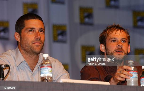 Matthew Fox and Dominic Monaghan during 2004 San Diego ComicCon International Day Three at San Diego Convention Center in San Diego California United...