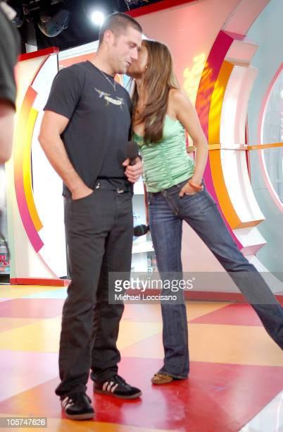 Matthew Fox and MTV VJ Vanessa Minnillo during Jimmy Kimmel and Matthew Fox Visit MTV's 'TRL' May 16 2005 at MTV Studios Times Square in New York...