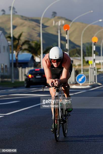 Matthew Franklin was first out of water during the Port Tauranga 1/2 Ironman Triathlon on January 9 2016 in Tauranga New Zealand