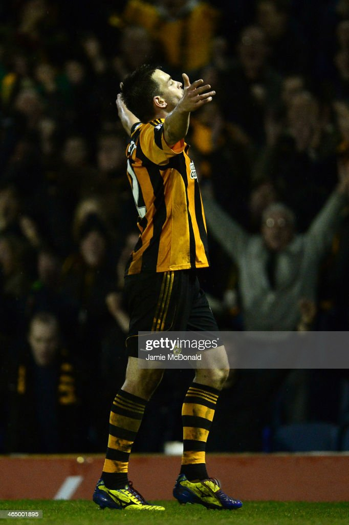 Matthew Fryatt of Hull City celebrates after scoring his team's second goal during the FA Cup fourth round match between Southend United and Hull City at Roots Hall on January 25, 2014 in Southend, England.