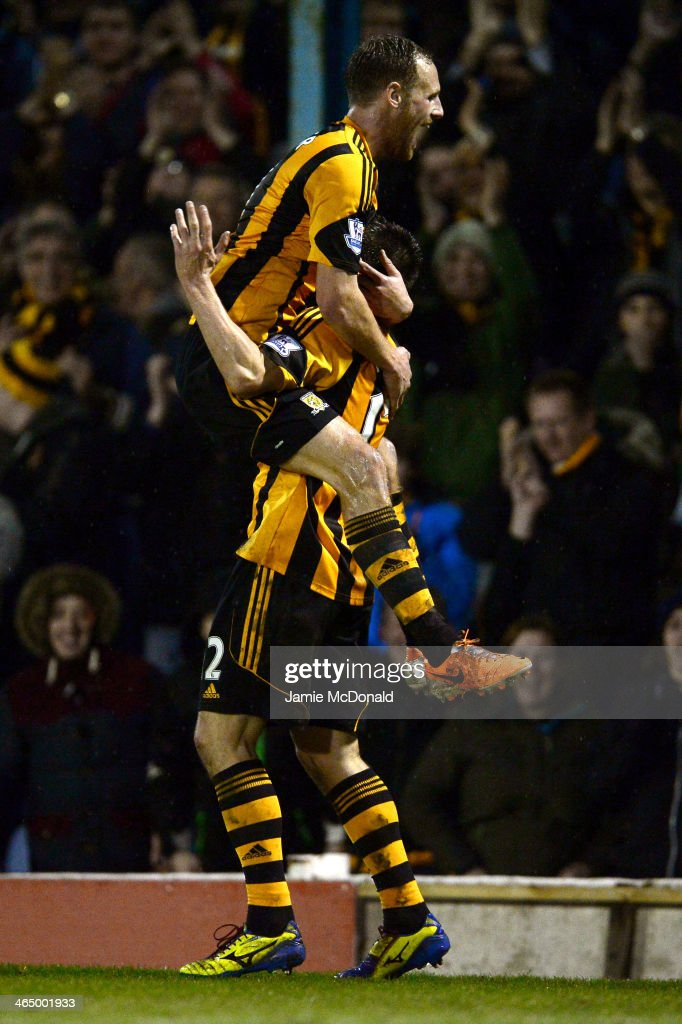 Matthew Fryatt (bottom) of Hull City celebrates with teammate David Meyler after scoring his team's second goal during the FA Cup fourth round match between Southend United and Hull City at Roots Hall on January 25, 2014 in Southend, England.