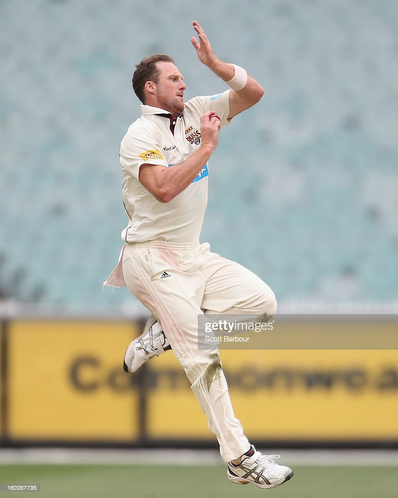 Matthew Gale of the Bulls bowls during day two of the Sheffield Shield match between the Victorian Bushrangers and Queensland Bulls at Melbourne Cricket Ground on February 19, 2013 in Melbourne, Australia.
