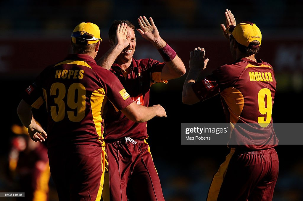 Matthew Gale (C) of the Bulls celebrates a wicket with team mates during the Ryobi One Day Cup match between the Queensland Bulls and the Western Australia Warriors at The Gabba on February 2, 2013 in Brisbane, Australia.