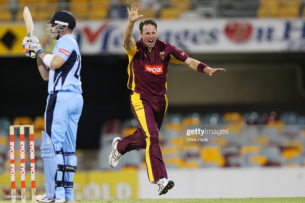 Matthew Gale of the Bulls celebrates after dismissing Brad Haddin of the Blues during the Ryobi One Day Cup match between the Queensland Bulls and the New South Wales Blues at The Gabba on November 21, 2012 in Brisbane, Australia.