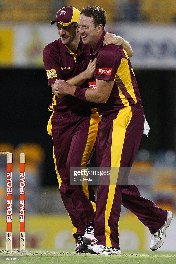 Matthew Gale of the Bulls celebrates with team mates after Peter Nevill of the Blues was run out during the Ryobi One Day Cup match between the Queensland Bulls and the New South Wales Blues at The Gabba on November 21, 2012 in Brisbane, Australia.