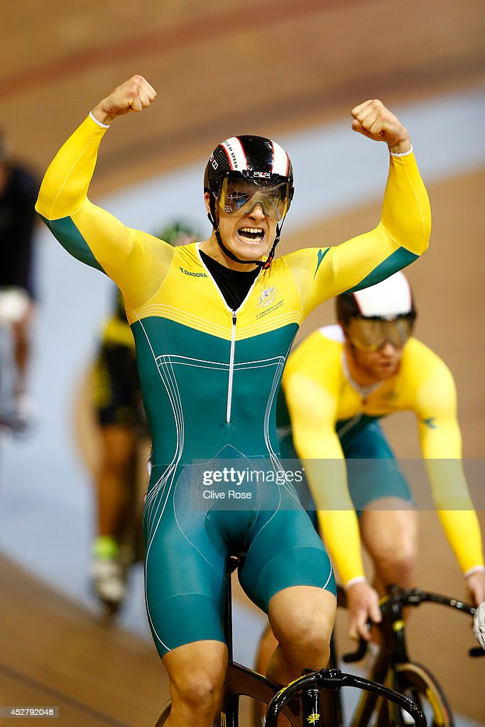 Matthew Glaetzer of Australia celebrates winning the Men's Keirin Final at the Sir Chris Hoy Velodrome during day four of the Glasgow 2014 Commonwealth Games on July 27, 2014 in Glasgow, United Kingdom.