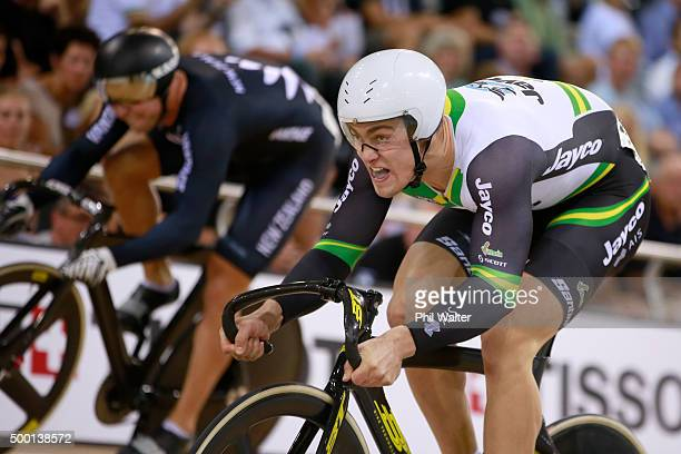 Matthew Glaetzer of Australia competes against Eddie Dawkins of New Zealand in the mens sprint semifinal during the 2015 UCI Track Cycling World Cup...