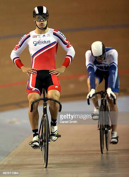 Matthew Glaetzer of South Australia sits up on the saddle after defeating Peter Lewis of New South Wales to win the Men's Sprint final during the...