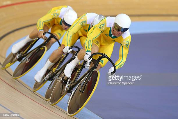 Matthew Glaetzer Scott Sunderland and Shane Perkins of Australia compete in the Men's Team Sprint Track Cycling Bronze Medal final on Day 6 of the...