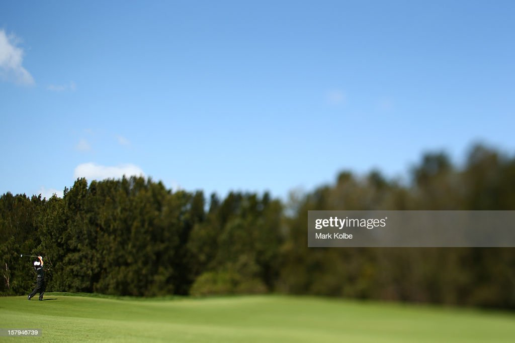 Matthew Goggin of Australia plays a fairway shot during round three of the 2012 Australian Open at The Lakes Golf Club on December 8, 2012 in Sydney, Australia.