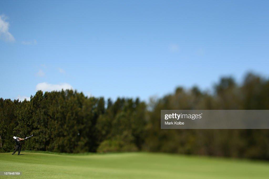 Matthew Goggin of Australia plays a fairway shot during round three of the 2012 Australian Open at The Lakes Golf Club on December 8, 2012 in Sydney, Australia.
