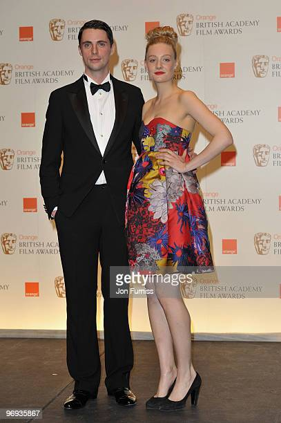 Matthew Goode and Romola Garai pose in the awards room during the The Orange British Academy Film Awards 2010 at The Royal Opera House on February 21...