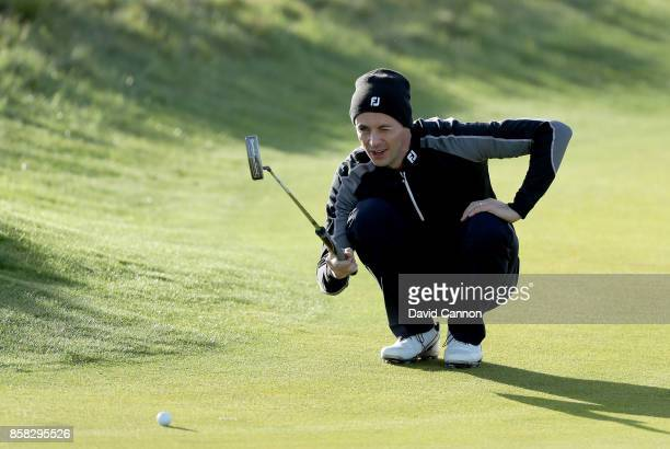 Matthew Goode of England the film and television actor lines up a putt on the second hole during the second round of the 2017 Alfred Dunhill Links...