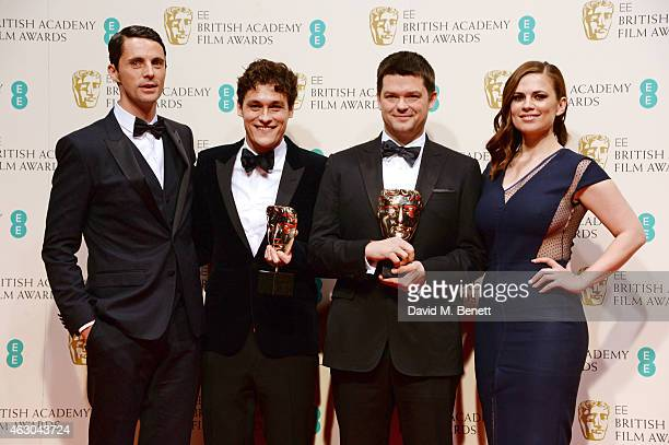 Matthew Goode Phil Lord and Christopher Miller winners of the Best Animated Film award for the 'Lego Movie' and Hayley Atwell pose in the winners...
