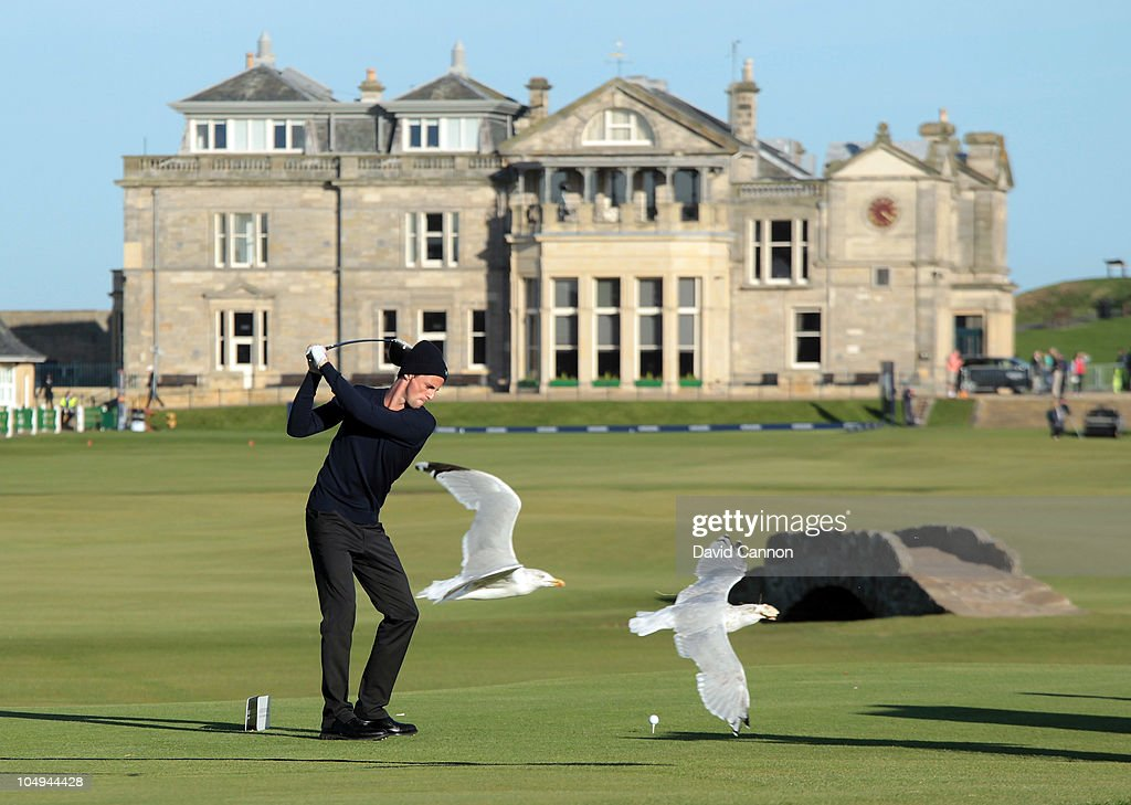 <a gi-track='captionPersonalityLinkClicked' href=/galleries/search?phrase=Matthew+Goode&family=editorial&specificpeople=216331 ng-click='$event.stopPropagation()'>Matthew Goode</a> the actor on the 18th tee as a pair of seagulls fly past during the first round of The Alfred Dunhill Links Championship at The Old Course on October 7, 2010 in St Andrews, Scotland.