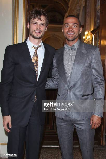 Matthew Gray Gubler and Jesse Williams pose as they arrive to attend a cocktail Party at the Monaco Palace during the 51st Monte Carlo TV Festival on...