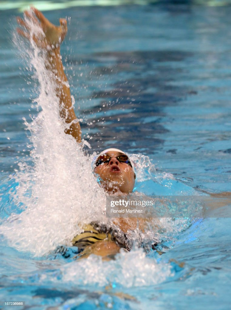 Matthew Grevers swims in the Men's 100 Backstroke during day two of the 2012 AT&T Winter National Championships on November 30, 2012 at the Lee and Joe Jamail Texas Swimming Center in Austin, Texas.