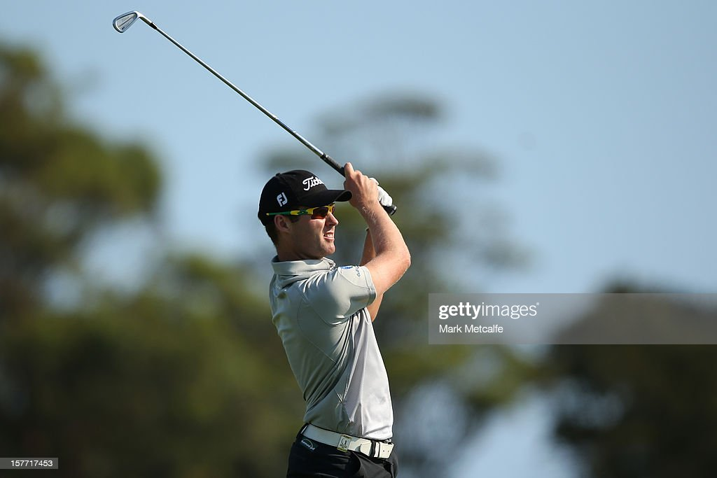 Matthew Griffin of Australia plays a shot during round one of the 2012 Australian Open at The Lakes Golf Club on December 6, 2012 in Sydney, Australia.
