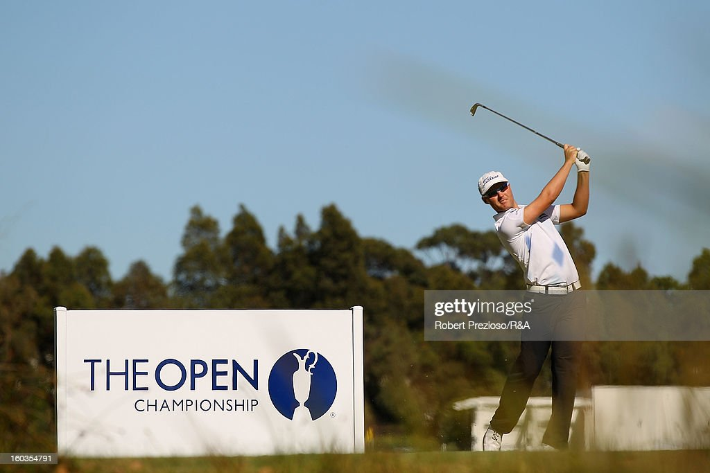 Matthew Griffin of Australia plays a shot on the 5th hole during day two of the British Open International Final Qualifying Australasia at Kingston Heath Golf Club on January 30, 2013 in Melbourne, Australia.