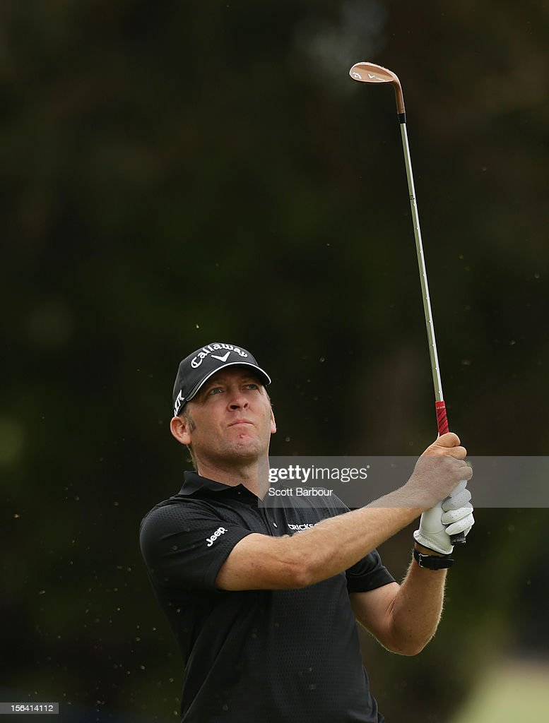 Matthew Guyatt of Queensland plays an approach shot during day one of the Australian Masters at Kingston Heath Golf Club on November 15, 2012 in Melbourne, Australia.