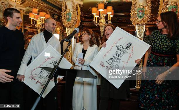 Matthew Harding Levi Palmer Alexandra Shulman Amy Powney and Caroline Rush attend the BFC/Vogue Designer Fashion Fund winners announcement at Hotel...