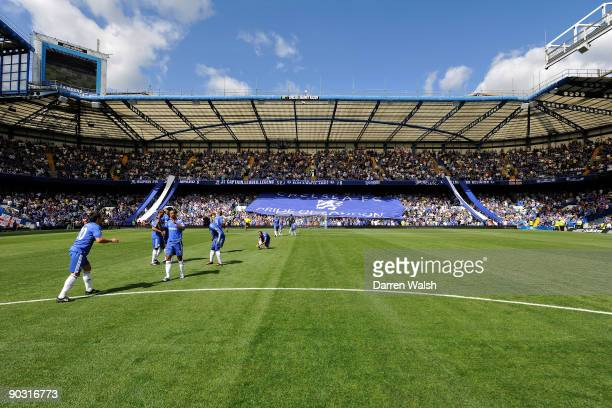 Matthew Harding stand with the flag at Chelsea during the Barclays Premier League match between Chelsea and Burnley at Stamford Bridge on August 29...