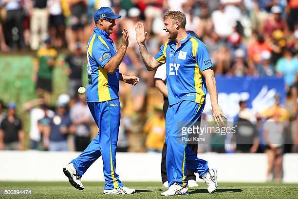 Matthew Hayden and Freddie Flintoff of the Legends celebrate the wicket of Cameron Bancroft of the Scorchers during the WA Festival of Cricket...