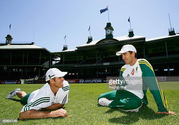 Matthew Hayden and Justin Langer opening batsmen for Australia chat after training at the Sydney Cricket Ground on October 11 2005 in Sydney Australia